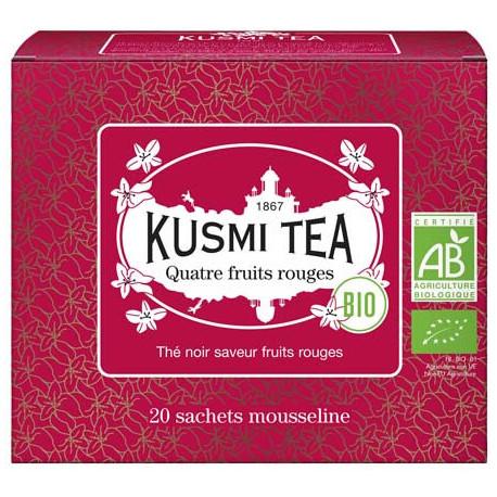 Kusmi Tea 4 fruits rouges thé noir BIO, boite 20 sachets mousseline