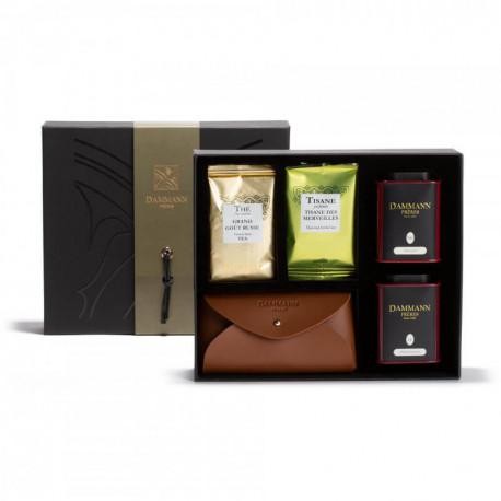 Coffret Excursion visuel coffret ouvert avec étuis à thé, vrac en boite métal et étuis à thé – Damman Frères