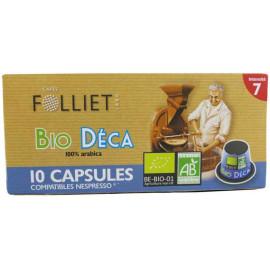 Bio Déca Intensité 7 - Capsules compatibles Nespresso - Café FOLLIET