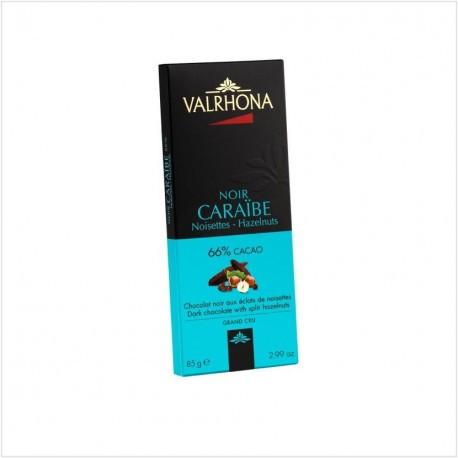 Tablette chocolat noir Caraibe aux noisettes hazelnuts 66% - Valrhona