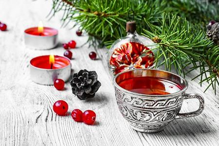 Illustration thé de noël, boisson chaude chaleureuse